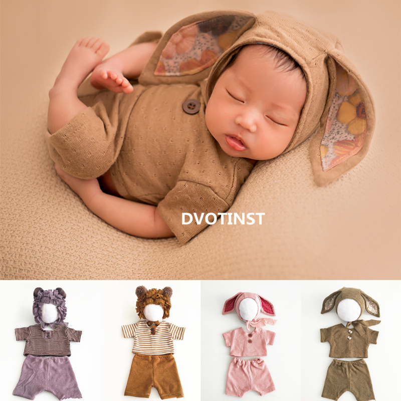 dvotinst newborn fotografia aderecos orelhas do bebe bonnet roupas chapeu conjunto de acessorios fotografia estudio shoots