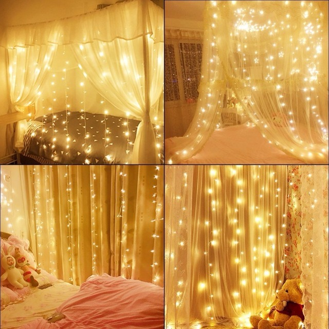 Led Curtain Icicle Lights 600led Warm White Christmas Curtain String