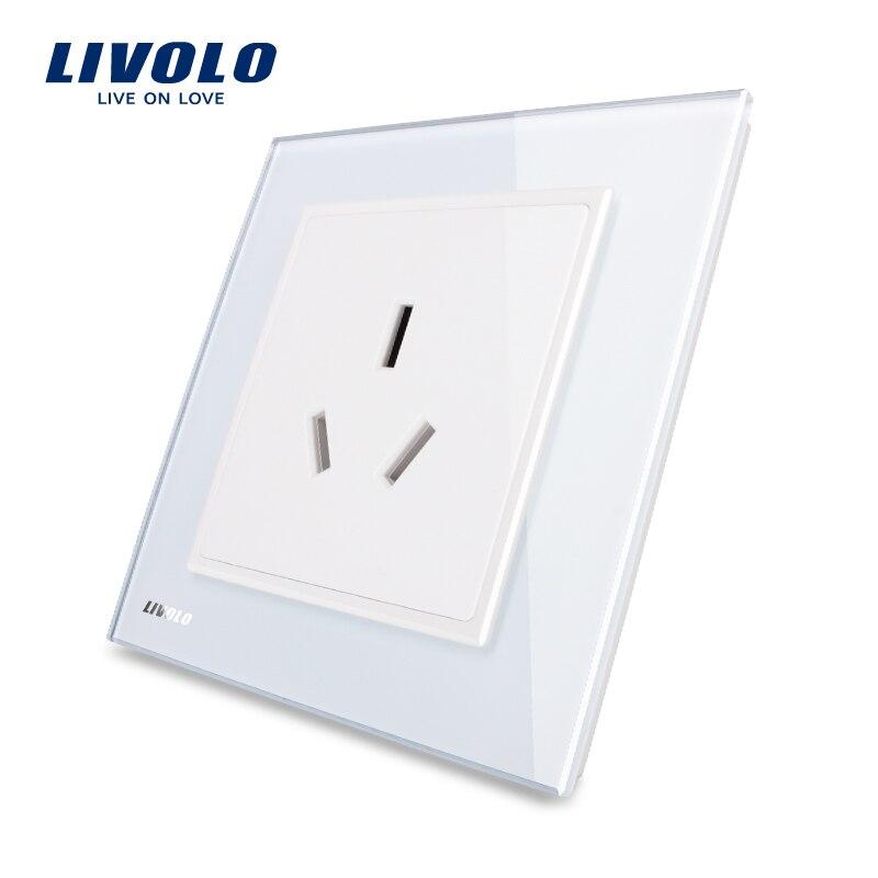 Enchufe de corriente Livolo UK estándar 1 gang, panel de cristal blanco de lujo, VL-W2C1B-12/11/13