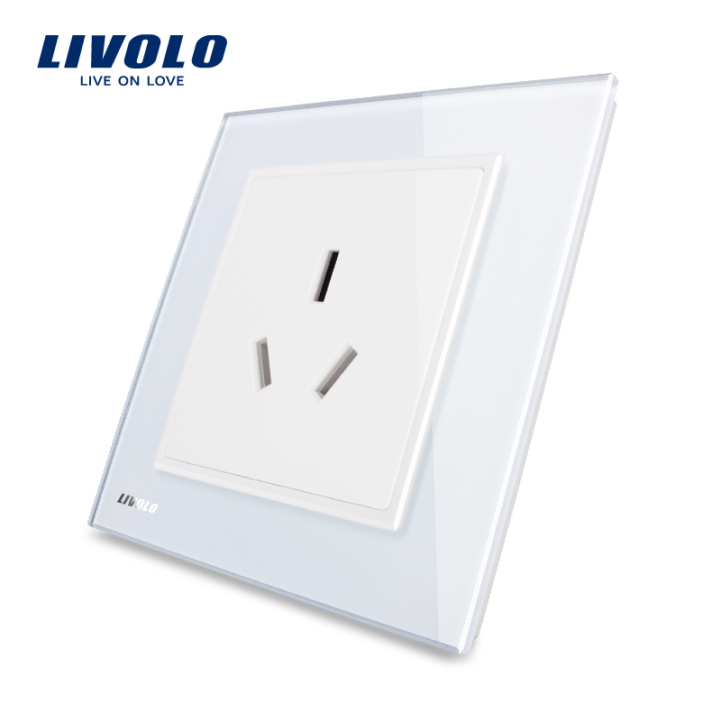 Livolo UK Standard 1 Gang Power Socket, , Luxury White Crystal Glass Panel, VL-W2C1B-12/11/13