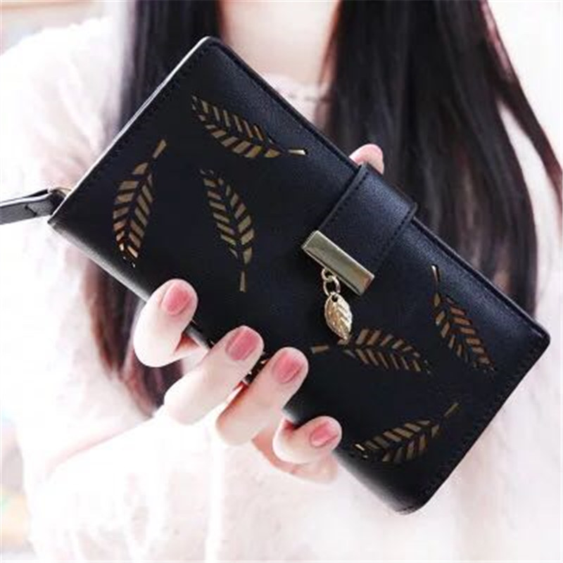 New hot Women Wallets Leaf Bifold Wallet Leather Clutch Women Card Holder Purse Lady Long Handbag carteras mujer purse female women purse solid color mini grind magic bifold leather wallet card holder clutch women handbag portefeuille femme dropshipping