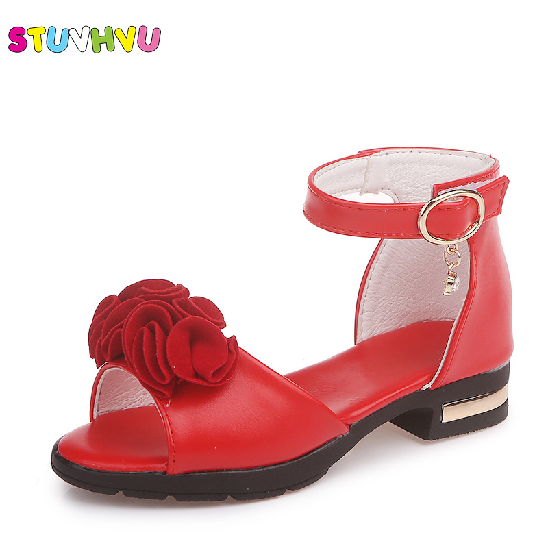 Summer Children's Sandals For Girls Flower Shoes 2019 New Fish Mouth Princess Shoes Little Kids Roman Shoes Rubber Size 27 37