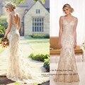 Кантри-свадебные слоновая кость кружева свадебное платье с открытой спиной бусины русалка невеста платья Vestido де Noiva 2015 mariée
