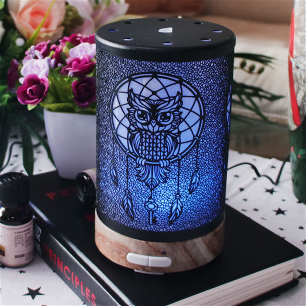 100ml Owl Pattern Electric Air Humidifier Ultrasonic Essential Oil Diffuser Aroma Treatment 7 Color Night Light For Home Office
