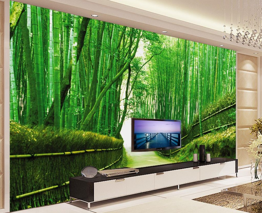 3d wallpaper bamboo grove landscape oil painting for Bamboo wall mural wallpaper