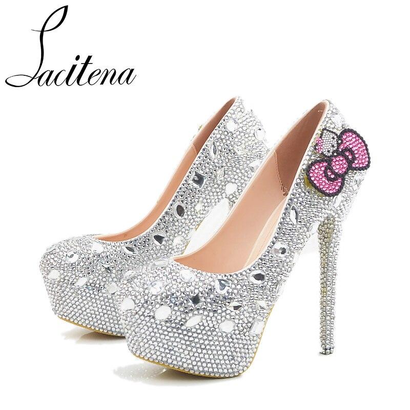 Silver Shine Crystal Hello Kitty Wedding Shoes Sweet Lovely Butterfly-knot Bridal Shoes temptu pro transfer sweet tribal butterfly wings трансферная татуировка