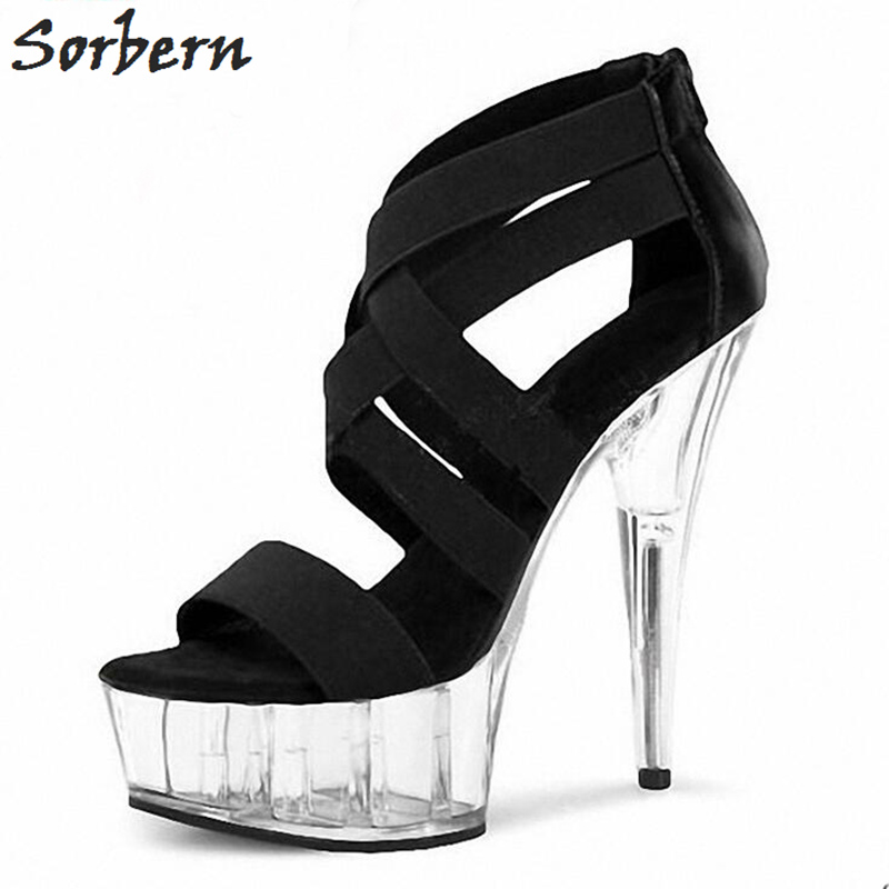 Sorbern Transparent High Heels 15Cm Fashion Gladiator Style Summer Shoes For Women Ladies Sandals Platform Shoes New Arrival sorbern women summer sandals shoes plus size 15cm transparent spike heels fashion ladies party shoes new arrive sandalia s