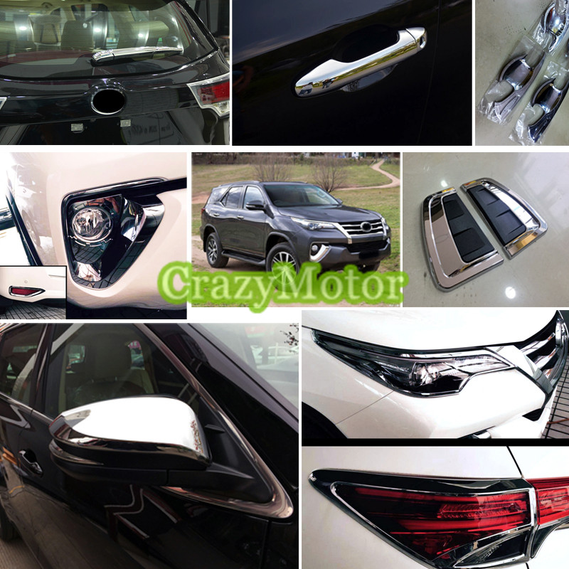 For Toyota Fortuner 2016 2017 29* Chrome Exterior Outer Accessories Whole Kit Decorative Cover Trims new arrival for lexus rx200t rx450h 2016 2pcs stainless steel chrome rear window sill decorative trims