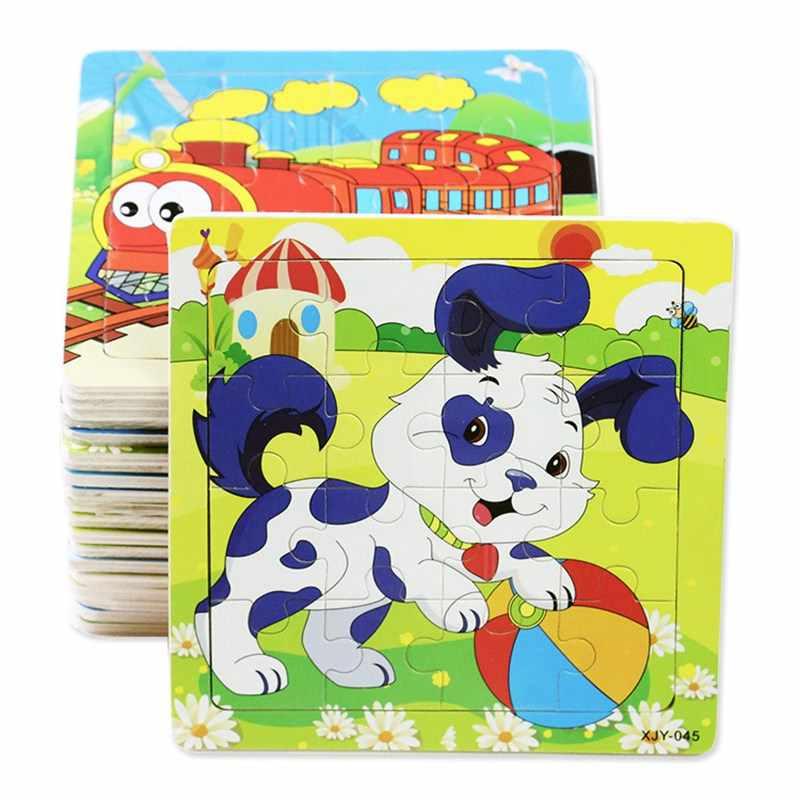 Układanka drewniane 3D Cartoon zwierzęta pies Panda owca krowa tygrys żaba pociąg puzzle zabawki edukacyjne dla dzieci zabawki dla dzieci prezent