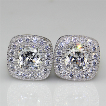 Total 4ct Diamond Center Halo Studs Plated Gold Stud Earrings ASCD Simulated Diamond Pair 925 Sterling Silver Earring Studs