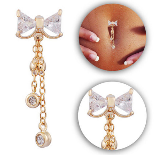 new Reverse Belly Button Ring Dangle Bowknot Clear CZ Navel Bar Gold Dangle Body Jewelry tragus piercing earring