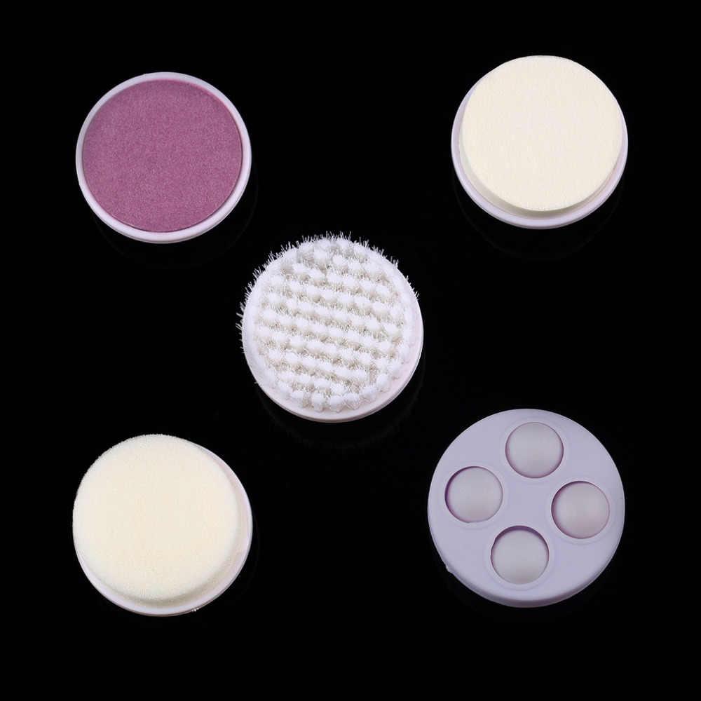 1 Juego 5 en limpiador Facial eléctrico con cepillos Cuidado personal acné masajeador Facial piel herramientas de belleza máquina suave