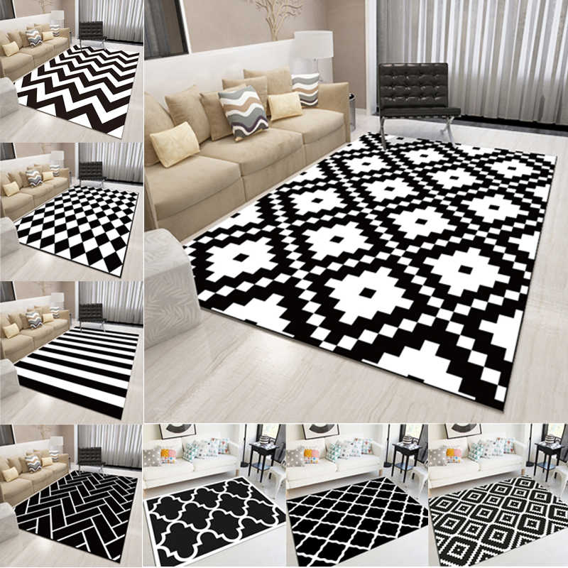 Groovy Nordic Geometric Black And White Area Rugs Living Room Bedroom Carpet Minimalist Modern Floor Rug Bedside Balcony Hallway Mats Download Free Architecture Designs Crovemadebymaigaardcom