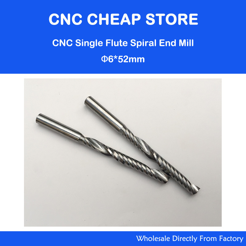 2pcs High Quality Cnc Bits Single Flute Long Spiral Router Carbide End Mill Cutter Tools 6mm X 52mm OVL 80mm Free Shipping