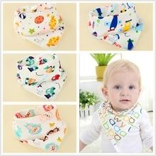 4pcs/lot Baby Cartoon Printing Bib Waterproof Triangle Cotton Newborn Double Towel Childrens Supplies