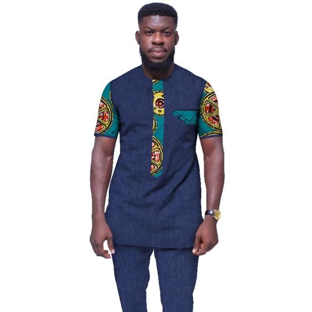Yaz Erkek afrika kıyafeti Artı Boyutu Afrika Giysi o-boyun Kısa Kollu Üst ve Pantolon 2 Parça WYN439