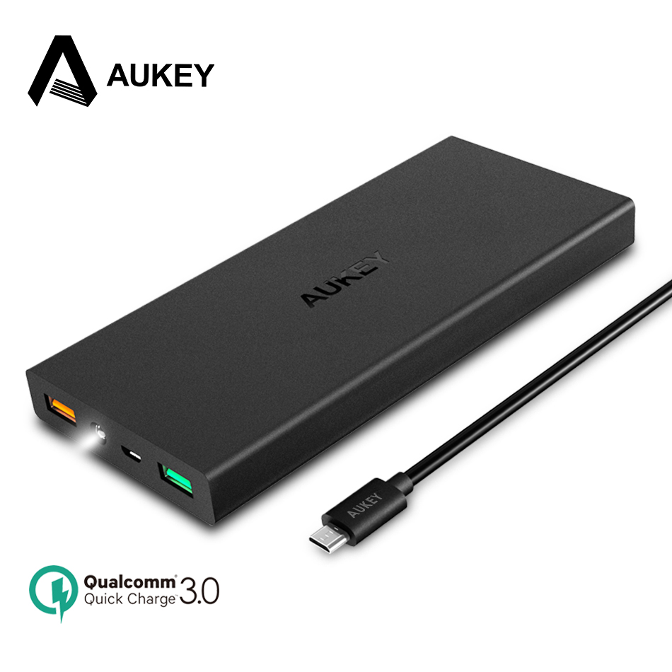 AUKEY Power Bank 16000mAh Powerbank Quick Charge 3.0 External Battery for Xiaomi Micro USB Bateria For Android&IOS Phone Tablets