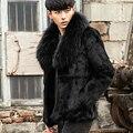 CR085 genuinos de los hombres abrigos de piel de conejo real de piel chaquetas abrigos negro color con gran mapache cuello de piel