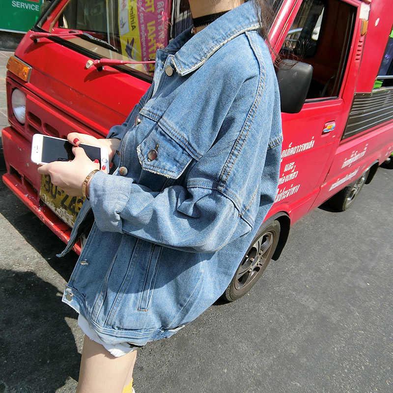 Ковбойское Женское пальто 2018 весна осень новый BF стиль свободный большой размер куртка длинный рукав однобортный джинсовый жакет Женский DD878