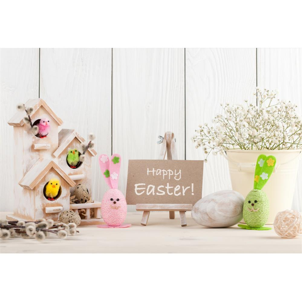 Laeacco Easter Eggs Chick Bunny Wooden Board Floor Scene Baby Children Photography Background Photographic Studio Photo Backdrop in Background from Consumer Electronics