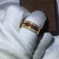 الأزياء الاشتباك خواتم الزفاف الفرقة للرجال الأحمر aaaaa الزركون حجر الذهب الأصفر شغل الرجال مجوهرات حزب الدائري بالجملة
