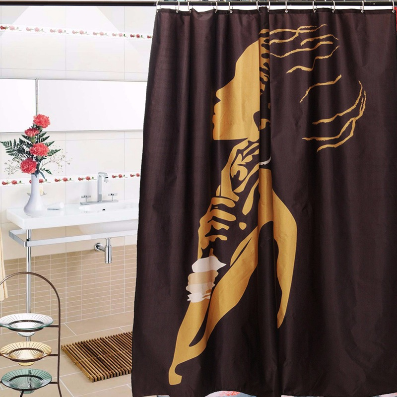 Cartoon african woman waterproof bathroom shower curtain for African bathroom decor
