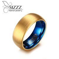 SIZZZ Men S Blue Tungsten Ring Classical Gold Plated Rings Men Tungsten Jewelry