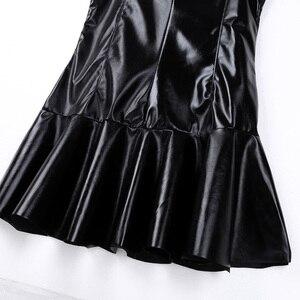 Frauen Damen Mode Cocktail Party Kleider Wetlook Babydoll PU Leder Hohe Kragen Unten Flare Mini Kleid Dance Clubwear