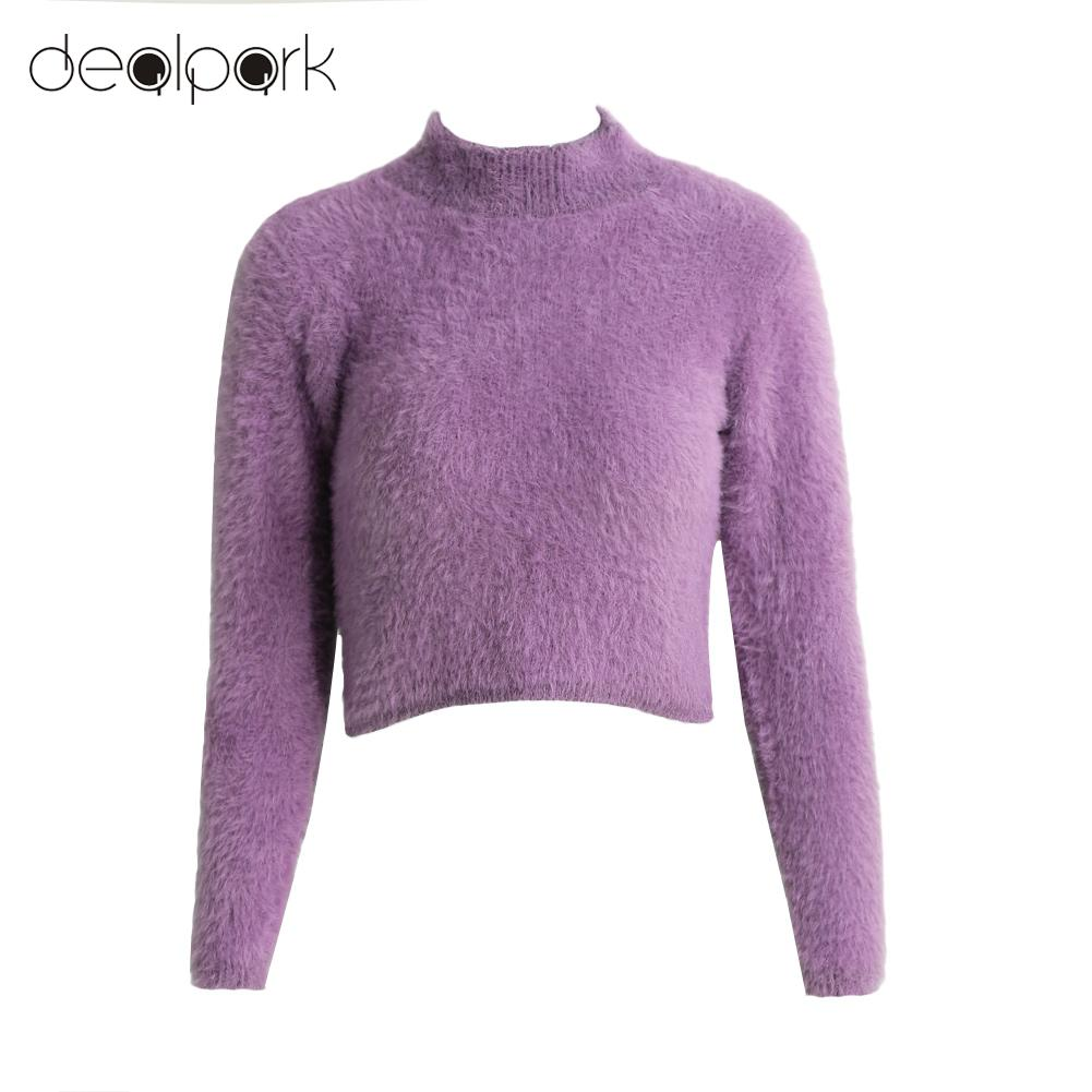 Autumn Women Sweaters Pullovers Knitted Fluffy Sweater Jumper Crop ...