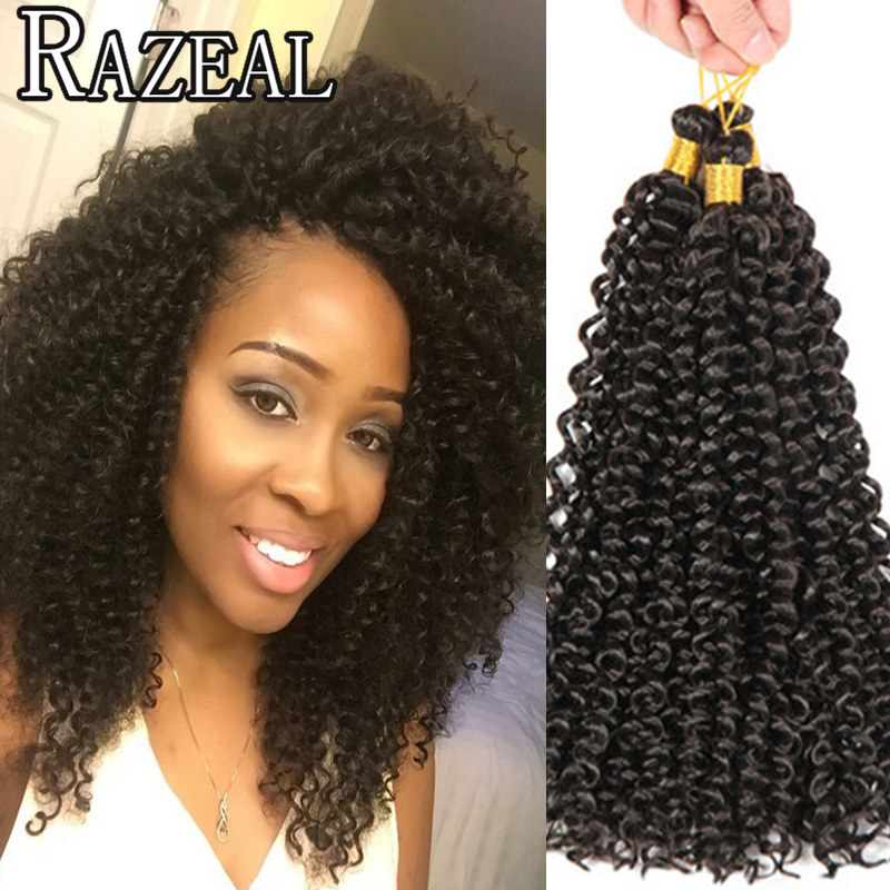 Crochet Braids Curly Afro : 14 Afro Kinky Twist Hair Crochet Braids Ombre Kanekalon Braiding Hair ...