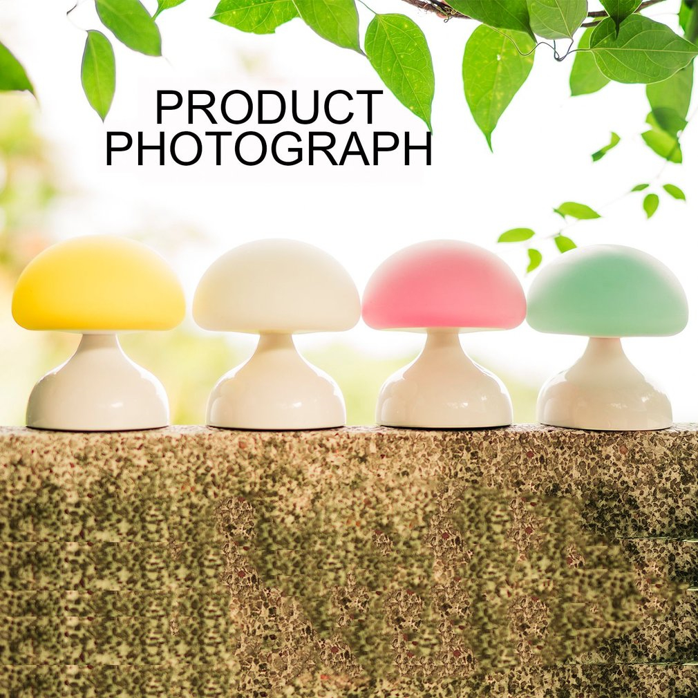 ICOCO LED Night Light Table Lamp USB Rechargeable Battery Cute Cartoon Silicone Mushroom for Home Bedroom Decor Gift for Kid