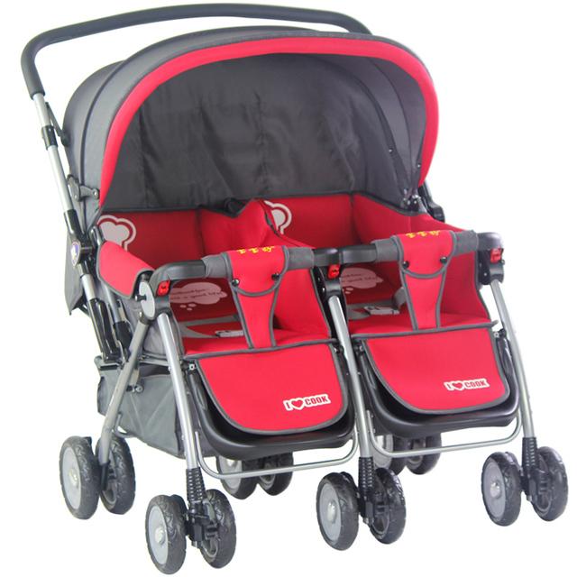 Nova Chega de Alta Paisagem Gêmeas Carrinhos para Gêmeos Gêmeos Carrinho de Bebê Dobrável Portátil À Prova de Choque de Segurança Carrinho De Bebê Gêmeos C01