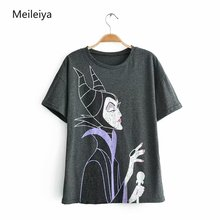 все цены на 2019 Summer Maleficent Print O-Neck Tops Tees Famale Short Sleeve Loose Women's T-shirt онлайн