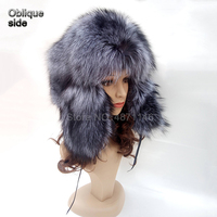 New style winter Russian women men warm real fur hats with earmuffs earflap cap silver fox fur Earmuff bomber hats caps