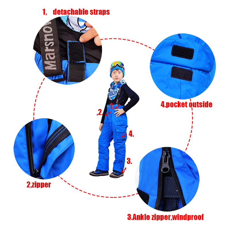 Marsnow Snowboard jacket and pants Children boys snow set outdoor windproof waterproof -30 warm thicken snow ski suit for girls