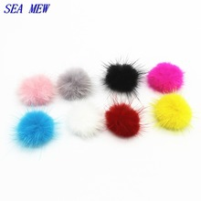 SEA MEW 10PCS High Quality Handmade Mink Hair Bulb Rabbit Hair Ball Connectors Charm For Jewelry Making 25mm to 30mm
