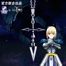 Fate Zero Saber Pendant Silver 925 Sterling Cross Jewelry Necklace Anime Role Emiya Kiritsugu Figure Model