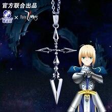 Pescoço de cruz zero em prata 925, joia de cruz esterlina, colar de papel anime emiya kiritsugu, modelo de figura