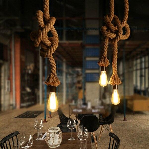 Antigo Pingente Luzes lâmpadas de Longa Corda de cânhamo Industrial Do Vintage Escritório Bar Do Hotel rural Moderna Iluminação LED Mini Lâmpada Do Teto