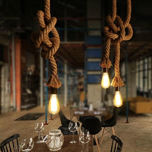 Luci Del Pendente Lunga Corda di canapa lampade antico Vintage Industrial Ufficio rurale Bar Dell'hotel Moderno HA CONDOTTO L'illuminazione Mini Lampada Da Soffitto