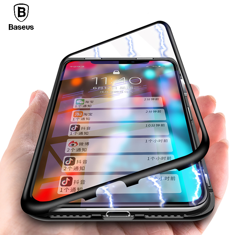 Baseus Magnetic Adsorption Case For iPhone X 10 Luxury Metal Bumper+Tempered Glass Back Cover Flip Case For iPhoneX Phone Cases