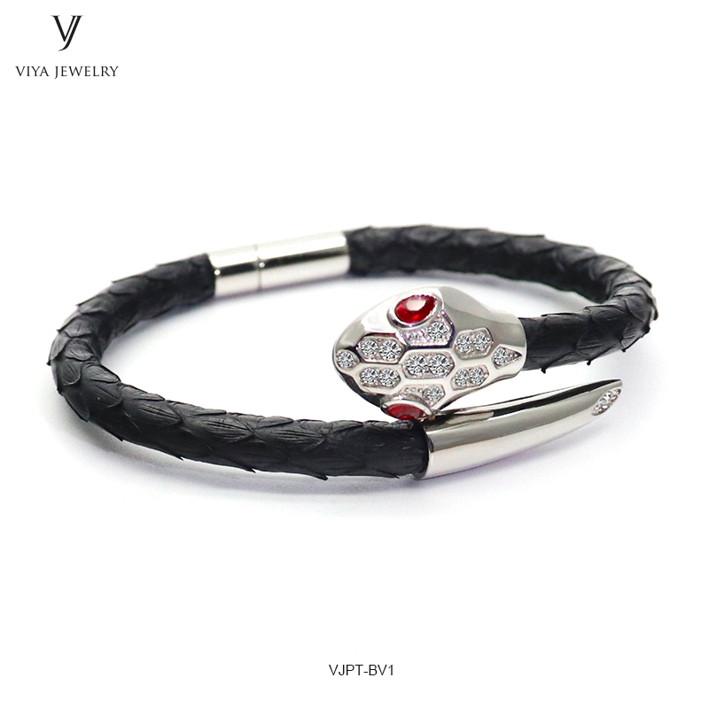 VJPT-BV1---Python leather snake bracelet ,fashion snake head Python leather bracelet,charms snake bracelet women men (39)