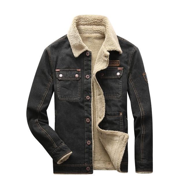 d226f6ba2765a AFS JEEP Autumn Winter Jacket For Men Warm Fleece Denim Jacket Men Fashion  Classic Pockets Decoration Jeans Jacket Plus Size 4XL