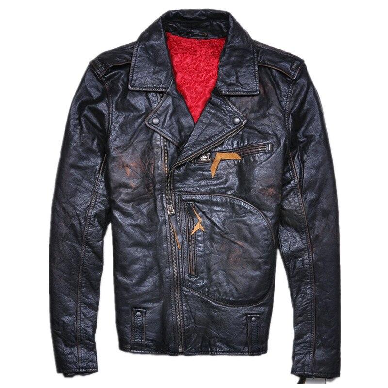 2018 Vintage Black Mens Biker Leather Jacket Diagonal Zipper Plus Size XXXL Genuine Cowhide Motorcyclist Jacket FREE SHIPPING