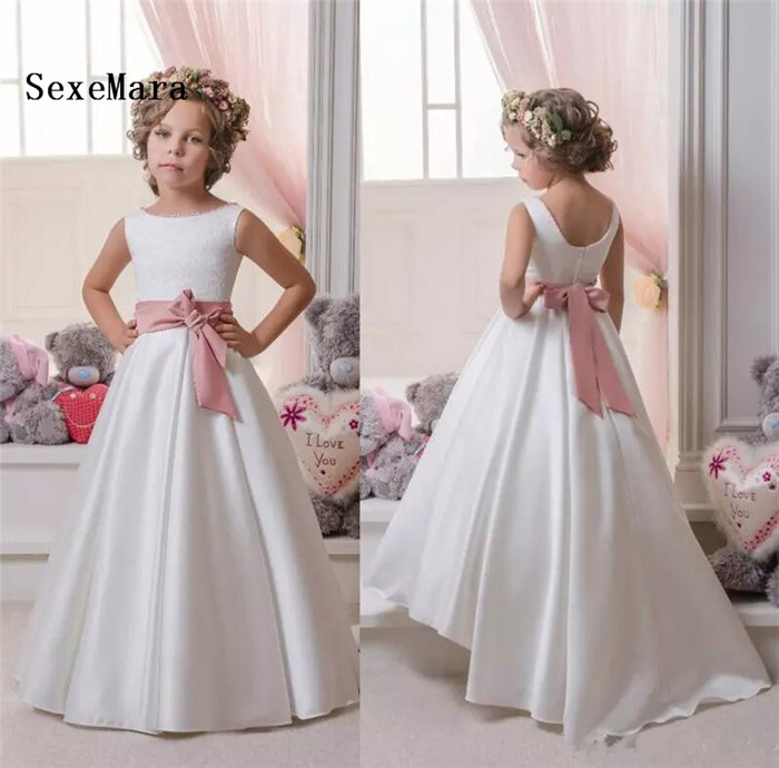 New Flower Girls Dresses For Weddings Vintage Satin Sleeveless Lace Kids Formal Dress Jewel Neck Ribbon Sash Girls Pageant Gown stylish jewel neck sleeveless print spliced women s sundress