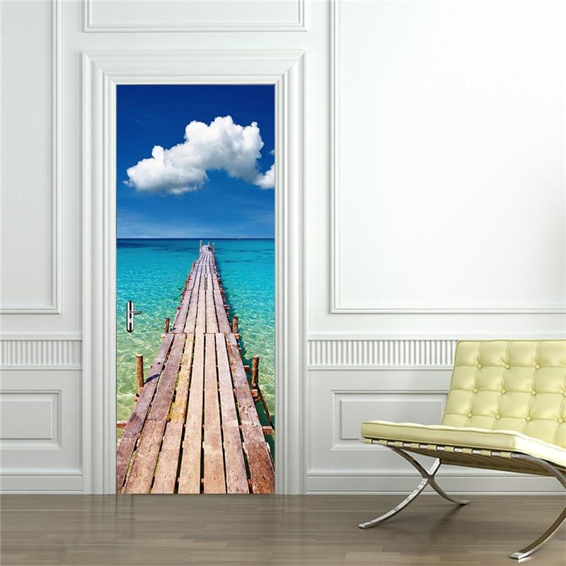 2 개 / 대 방수 DIY 3D 벽 스티커 벽화 포스터 PVC 문 - 가정 장식 - 사진 1