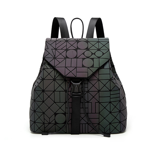 Women Backpack Luminous Geometric Plaid Sequin Female Backpacks For Teenage Girls Bagpack Drawstring Bag Holographic Backpack #4