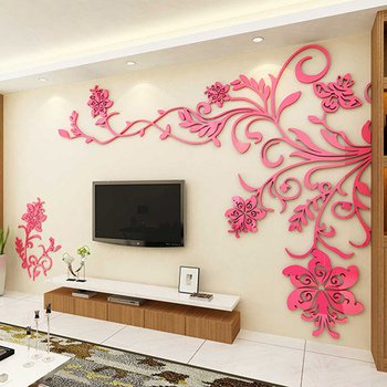 European Style 3D Flower Tree Wall Sticker Living Room Decorative Decals Home Art Decor Poster Solid Acrylic Wallpaper Stickers 12
