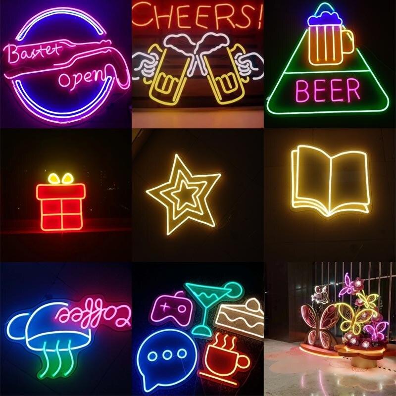 LED Hose Flexible Neon Custom Advertising Door Sign Light Word Bar KTV Scene Decoration Neon Lamp