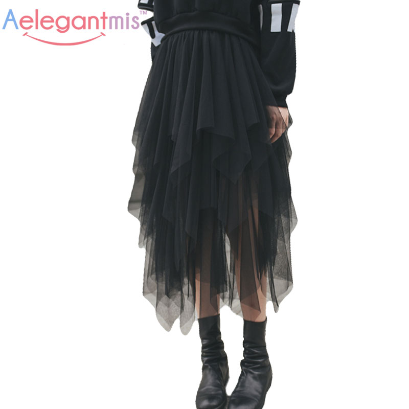 Aelegantmis Fashion High Waist Long Tulle Skirt Women Irregular Hem Mesh Tutu Skirt 2017 Summer Beach Skirt Ball Gown Ladies